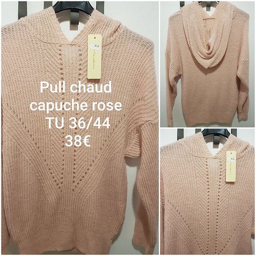 Pull grosse maille capuche