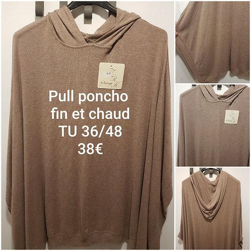 Pull poncho fin et chaud