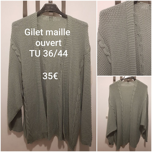 Gilet maille ouvert