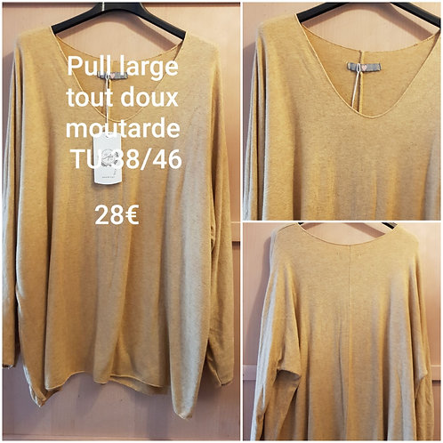 Pull large tout doux moutarde