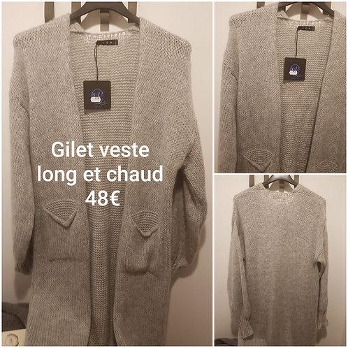 Gilet ou manteau grosse maille long