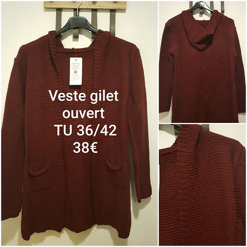 Gilet ouvert coupe 3/4