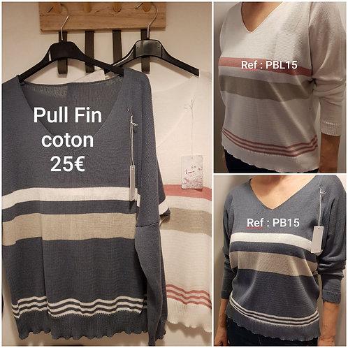 Pull fin coton bicolore