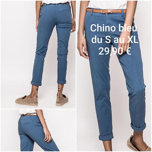 Pantalon chino bleu