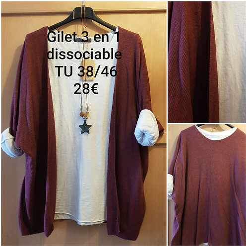 Gilet 3 en 1 dissociable Bordeaux