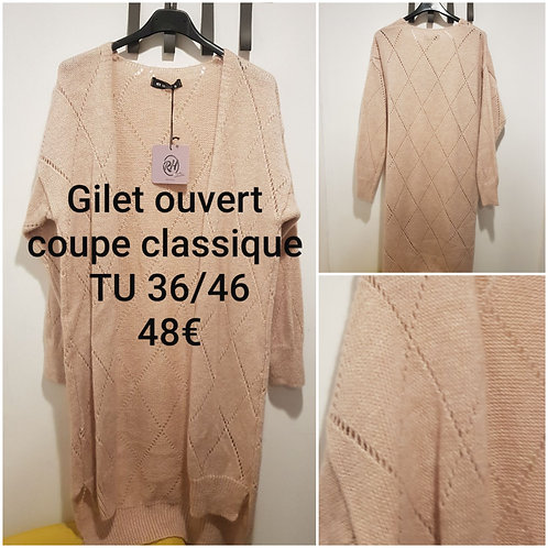 Gilet maille ajourée coupe 3/4
