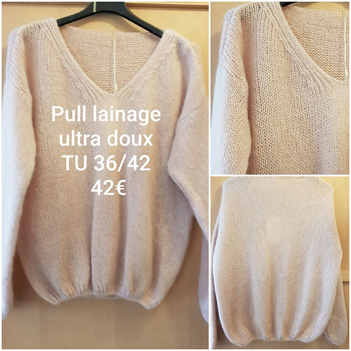Pull lainage ultra doux rose pale