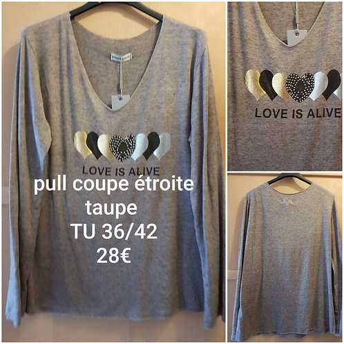 Pull coupe étroite taupe