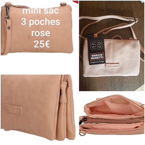 Mini sac 3 poches rose