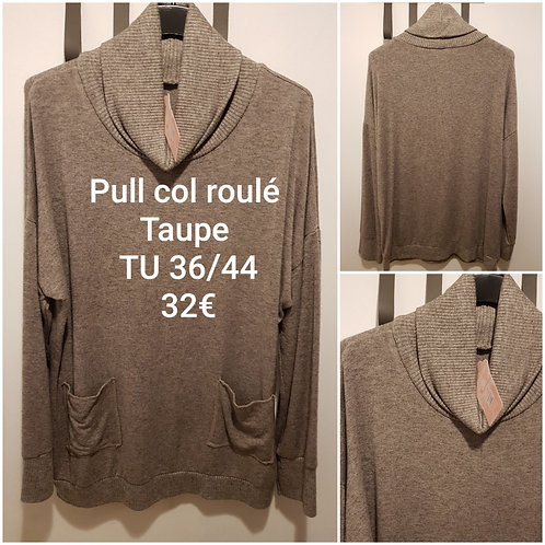 Pull col roulé taupe