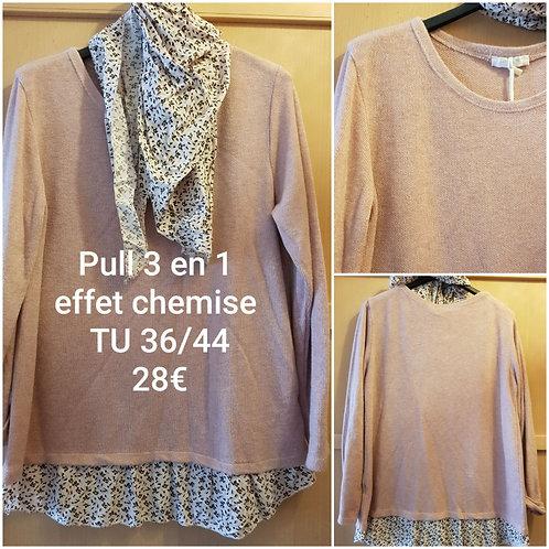 Pull 3 en 1 chemise et foulard rose