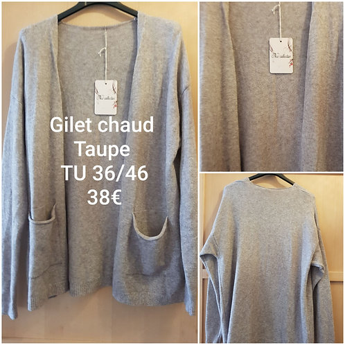Gilet ultra doux taupe