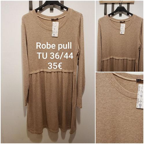 Robe pull fluide beige