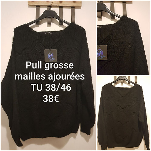 Pull grosse maille ajourée ample