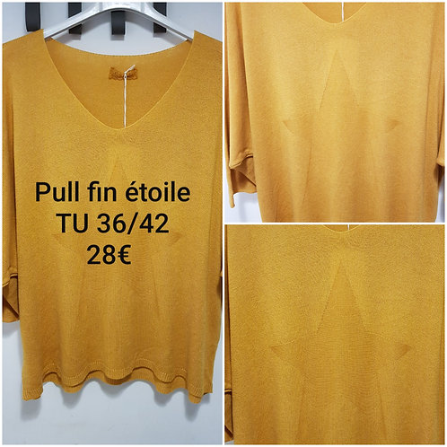 Pull fin étoile moutarde