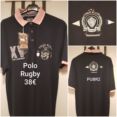 Polo de rugby noir et rose