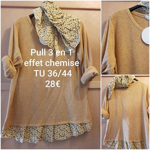 Pull 3 en 1 chemise et foulard moutarde