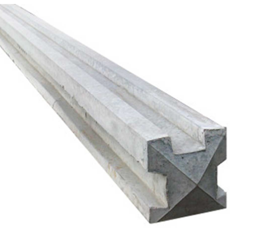 9' 3 way Slotted Concrete Fence Post