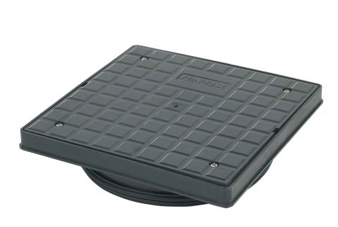 FLOPLAST UNDERGROUND DRAINAGE SQUARE SCREW DOWN COVER (DIA)340MM, BLACK