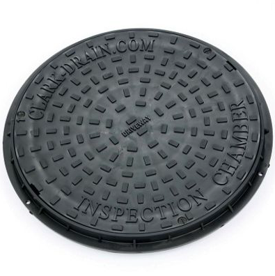 CLARK DRAIN UNDERGROUND DRAINAGE ROUND SCREW DOWN COVER (DIA)450MM, BLACK