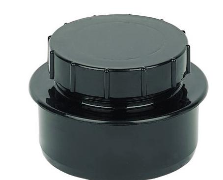 FLOPLAST RING SEAL SOIL ACCESS CAP (DIA)110MM, BLACK