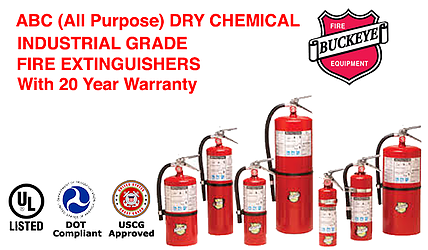 We offer ABC Dry Chemical Extinguisher for protection for Class A (Paper, Wood, & Textiles), Class B (Flammable Liquid Fires) & Class C (Energized Electrical Fires)