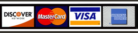 We except Discover, MasterCard, Visa, and American Express.