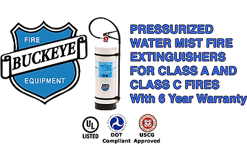 We offer Water Mist Fire Extinguishers which fight fires of Class A (paper, wood, and textile) fire protection as well as SafeClass C Electrical Fire Protection up to 100,000 volts