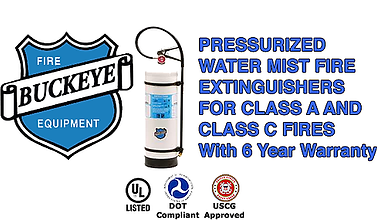 We offer Water Mist Fire Extinguishers which fight fires of Class A (paper, wood, and textile) fire protection as well as Safe Class C Electrical Fire Protection up to 100,000 volts