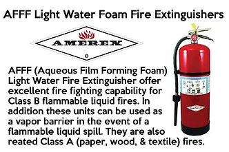 AFFF (Aqueous Film Forming Foam) Light Water Fire Extinguishers of Class B Flammable Liquid Fires