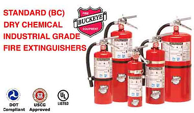 We offer Standard (BC) Dry Chemical Fire Extinguishers (Sodium Bicarbonate) Based and offer a Neutral Fire Fighting Agent that is Non-Toxic and Non-Corrosive; Standard (BC) Dry Chemical Fire Extinguishers are rated for Class B Flammable Liquid Hazards