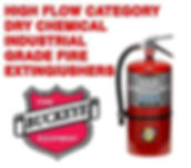 We offer High Flow Dry Chemical Industrial Grade Fire Extinguishers to extinguish Flammable Liquids, Pressurized Gas, or 3-Dimensional Fires