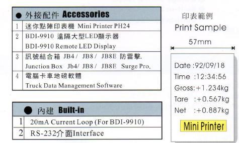 BDI-2001B 配件