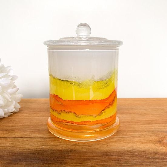 Bizarre - Yellow & Orange Handpainted XL Candle Jars