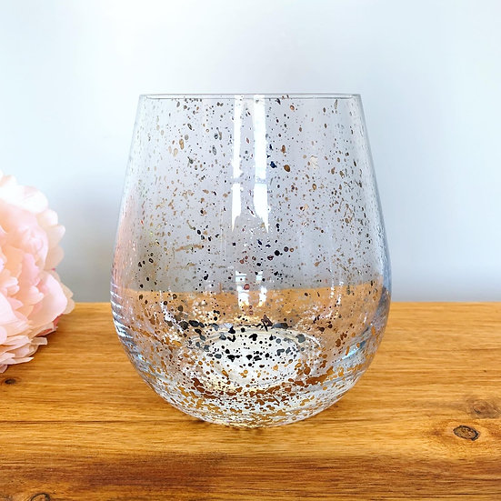 Jumbo Stemless Glass Candle - Silver