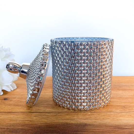 Silver Raindrop Geo Candle