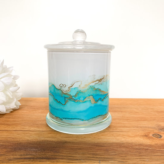 Turquoise Handpainted XL Candle Jars