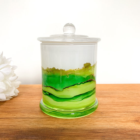 Green Handpainted XL Candle Jars