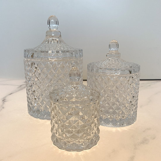 Clear Glass Geo Candle Set