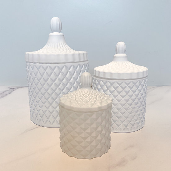 Matte White Geo Candle Set