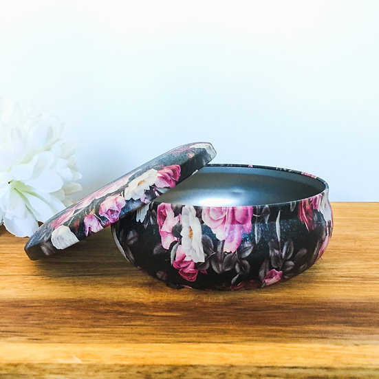 Dark Floral - Embossed Candle Tin