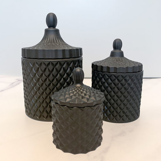 Matte Black Geo Candle Set