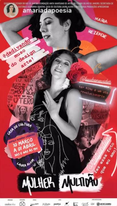 verso do azul de um minuto no cartaz do espetáculo Mulher Multidão, da poeta Maria Rezende