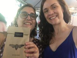Com a escritora Cecília Boltana na Primavera Literária 2019