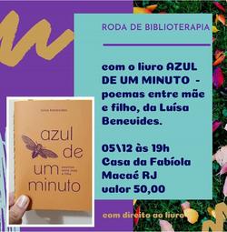azul de um minuto na Roda de Biblioterapia mediada por Fabíola Borges, 2019