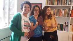 Com as escritoras Luciana Figueiredo e Sol Mendonça, no laboratório Liberte o escritor