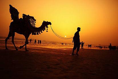 camel-rider-at-sunset-clifton-beach-kara