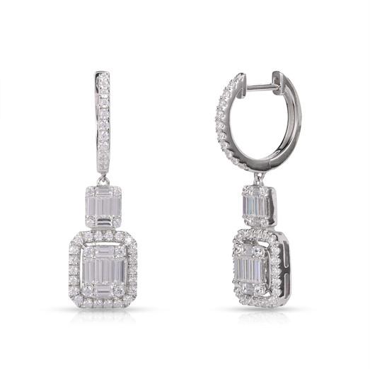 Diamond Drop Earring in Geometric Design