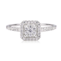 Classic Diamond Ring in Halo Style
