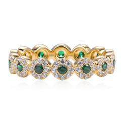 Eternity Diamond and Emerald Wedding Band